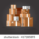 vector pile of stacked sealed... | Shutterstock .eps vector #417285895