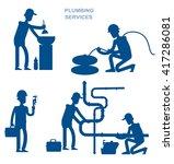 silhouette proffesional plumber ... | Shutterstock .eps vector #417286081