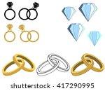wedding rings with diamonds.... | Shutterstock .eps vector #417290995