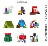 camping and barbecue object.... | Shutterstock .eps vector #417292789