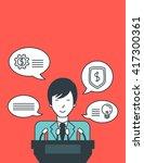 businessman giving speech. | Shutterstock .eps vector #417300361
