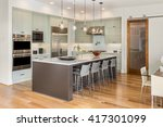 kitchen interior with island ... | Shutterstock . vector #417301099