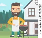 man preparing barbecue. | Shutterstock .eps vector #417303805