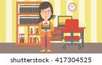 woman holding pile of books. | Shutterstock .eps vector #417304525