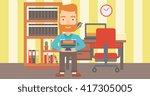 man holding pile of books. | Shutterstock .eps vector #417305005