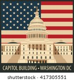 Stock vector vector illustration capitol building in washington dc with flag 417305551