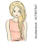 young girl with braid  sketch... | Shutterstock .eps vector #417307567