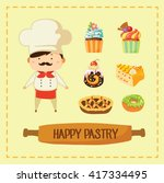 cute pastry chef with colorful... | Shutterstock .eps vector #417334495