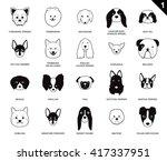 Dog Faces Stroke Monochrome...