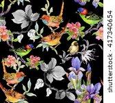 watercolor hand drawn seamless... | Shutterstock . vector #417340654
