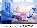 double exposure of  man holding ... | Shutterstock . vector #417347305