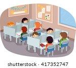 stickman illustration of kids... | Shutterstock .eps vector #417352747