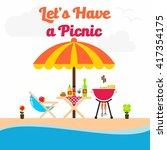 picnic illustration template | Shutterstock .eps vector #417354175