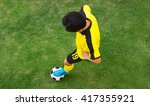 top view of football player. | Shutterstock . vector #417355921