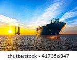 Tanker Ship And Oil Platform On ...