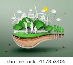 concept of eco with family... | Shutterstock .eps vector #417358405