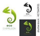 chameleon logo. vector... | Shutterstock .eps vector #417360931