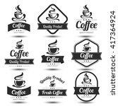 coffee badges and label design... | Shutterstock .eps vector #417364924