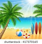 tropical beach with bright sun | Shutterstock . vector #417370165