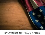 old american flag on wood... | Shutterstock . vector #417377881
