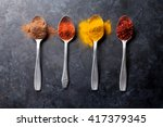 Colorful Spices In Spoons. Top...