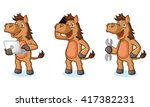 brown horse mascot with laptop  ... | Shutterstock .eps vector #417382231