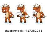 sienna horse mascot with laptop ... | Shutterstock .eps vector #417382261