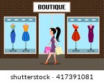 girl accomplishing purchases...   Shutterstock .eps vector #417391081