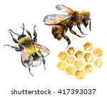 Watercolor Bee  Bumble Bee And...
