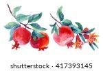 watercolor pomegranate bloom... | Shutterstock . vector #417393145