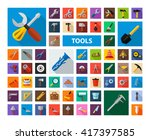 Tools Icon Set With Long Shado...