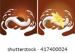 milk splash with chocolate and... | Shutterstock .eps vector #417400024