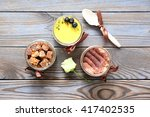 assorted jar cakes on wooden... | Shutterstock . vector #417402535