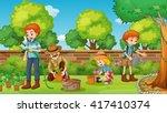family members happy in the... | Shutterstock .eps vector #417410374