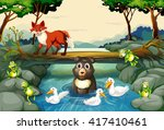 wild animals by the river... | Shutterstock .eps vector #417410461