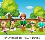 children reading books in the...   Shutterstock .eps vector #417410467