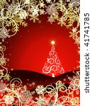 abstract christmas three on red ... | Shutterstock . vector #41741785