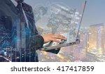 double exposure of businessman... | Shutterstock . vector #417417859