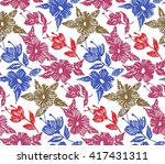 floral seamless pattern with... | Shutterstock .eps vector #417431311