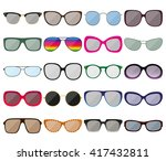 sunglasses icon set. colored... | Shutterstock .eps vector #417432811