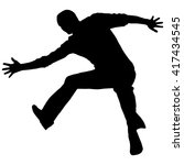 vector silhouette jumping man... | Shutterstock .eps vector #417434545