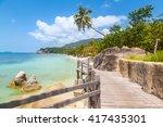 wooden bridge along the... | Shutterstock . vector #417435301