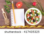 fresh greek salad with... | Shutterstock . vector #417435325