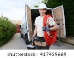 handsome young construction... | Shutterstock . vector #417439669