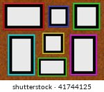 brick wall with colourful empty ... | Shutterstock . vector #41744125