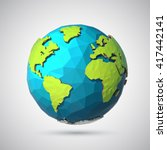 earth illustration in low poly... | Shutterstock .eps vector #417442141