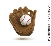 baseball glove with ball... | Shutterstock .eps vector #417455809
