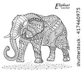 elephant. hand drawn stylized... | Shutterstock .eps vector #417460975