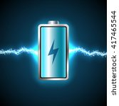 fully charged blue battery and... | Shutterstock .eps vector #417465544
