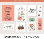 wedding invitation card with... | Shutterstock .eps vector #417479929